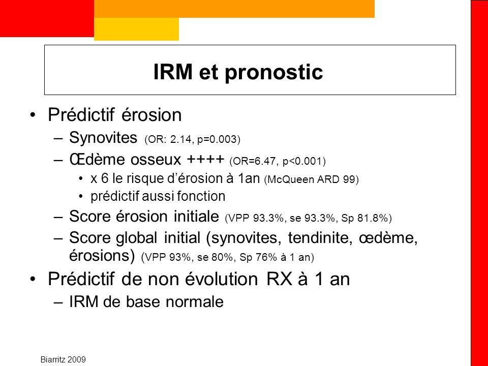 Biarritz 2009 IRM et pronostic Prédictif érosion –Synovites (OR: 2.14, p=0.003) –Œdème osseux ++++ (OR=6.47, p<0.001) x 6 le risque dérosion à 1an (Mc