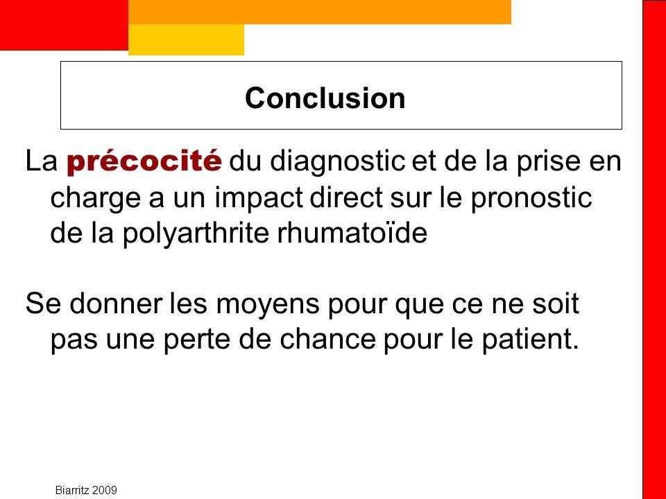 Biarritz 2009 Conclusion La précocité du diagnostic et de la prise en charge a un impact direct sur le pronostic de la polyarthrite rhumatoïde Se donn