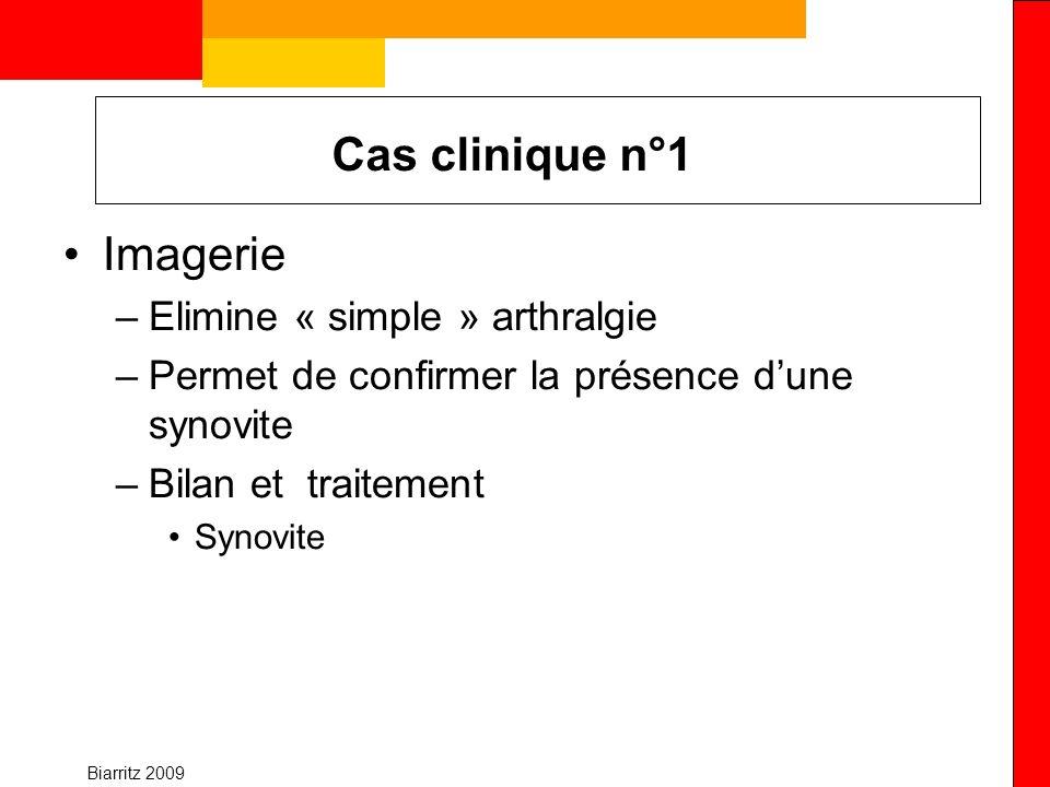 Biarritz 2009 Cas clinique n°3 imagerie et pronostic Homme 25 ans PR <1 an VS 57 CRP 32 FR + en IgM Anti CCP 1 Rx lésions structurales Suivi rapproché +++