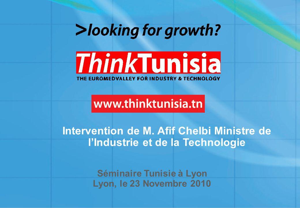 1 Séminaire Tunisie à Lyon Lyon, le 23 Novembre 2010 Intervention de M. Afif Chelbi Ministre de lIndustrie et de la Technologie