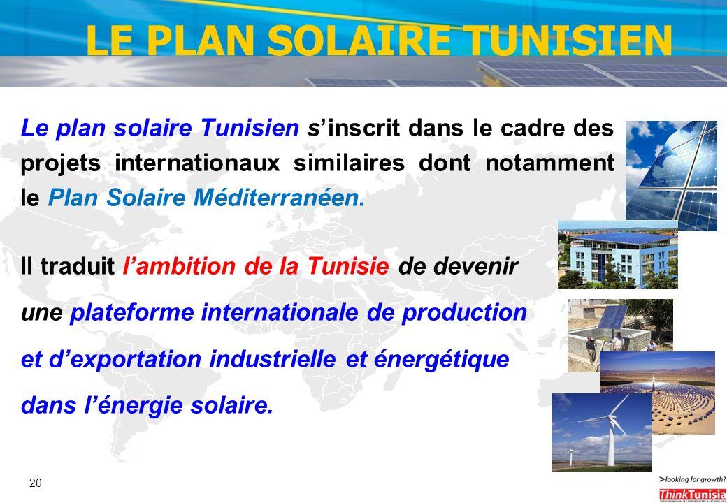 20 Le plan solaire Tunisien sinscrit dans le cadre des projets internationaux similaires dont notamment le Plan Solaire Méditerranéen. Il traduit lamb
