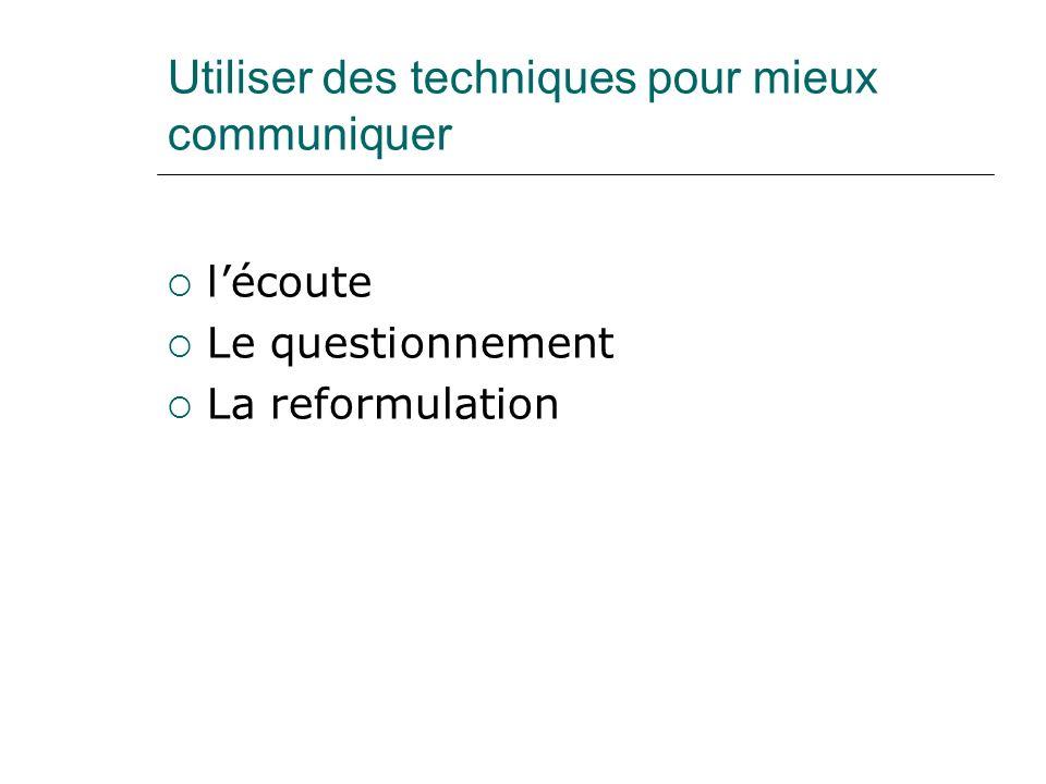 Utiliser des techniques pour mieux communiquer lécoute Le questionnement La reformulation