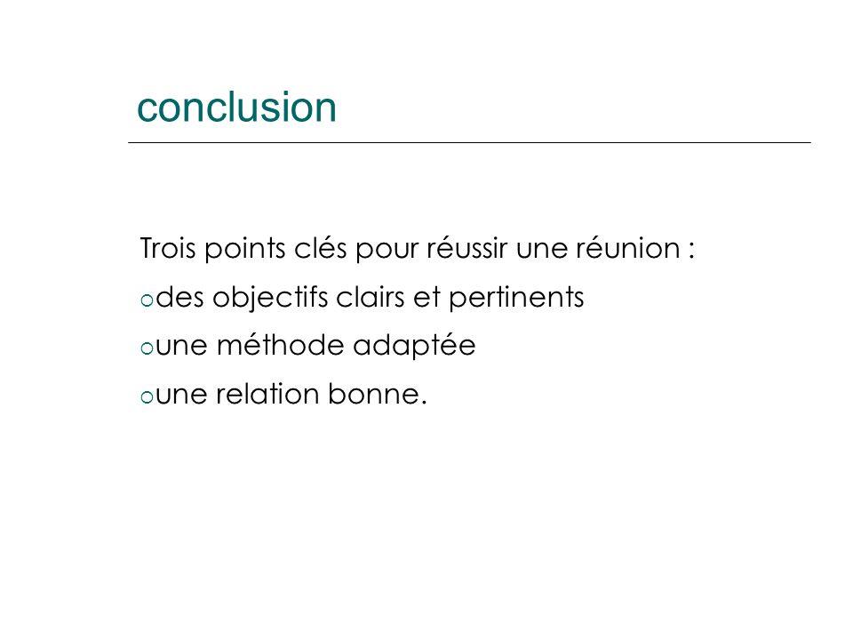 conclusion Trois points clés pour réussir une réunion : des objectifs clairs et pertinents une méthode adaptée une relation bonne.
