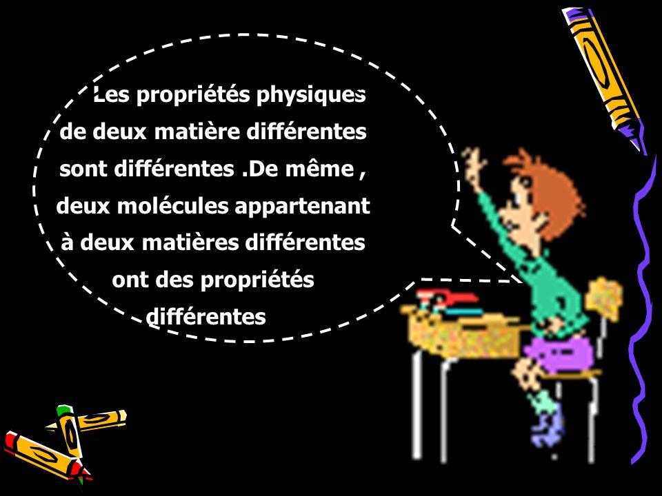 Les propriétés physiques de deux matière différentes sont différentes.De même, deux molécules appartenant à deux matières différentes ont des propriét