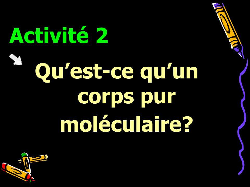 Activité 2 Quest-ce quun corps pur moléculaire?