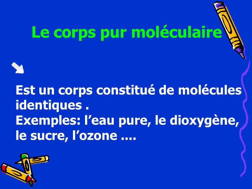 Le corps pur moléculaire Est un corps constitué de molécules identiques. Exemples: leau pure, le dioxygène, le sucre, lozone....