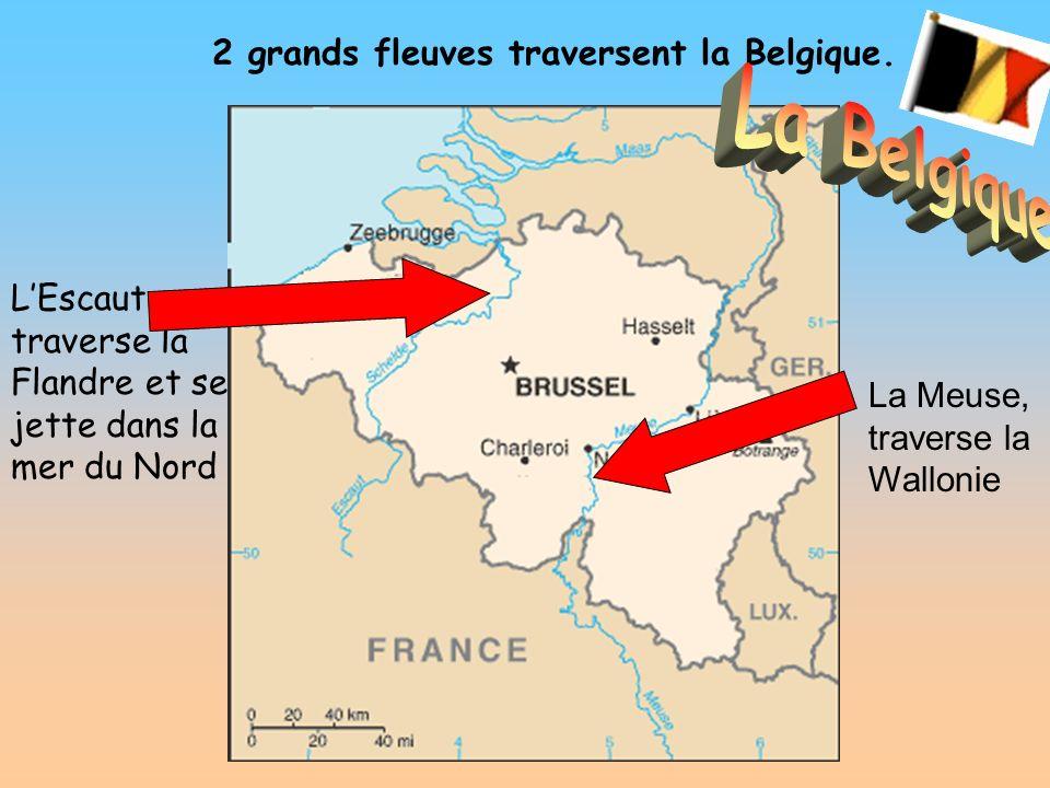 2 grands fleuves traversent la Belgique. La Meuse, traverse la Wallonie LEscaut, traverse la Flandre et se jette dans la mer du Nord