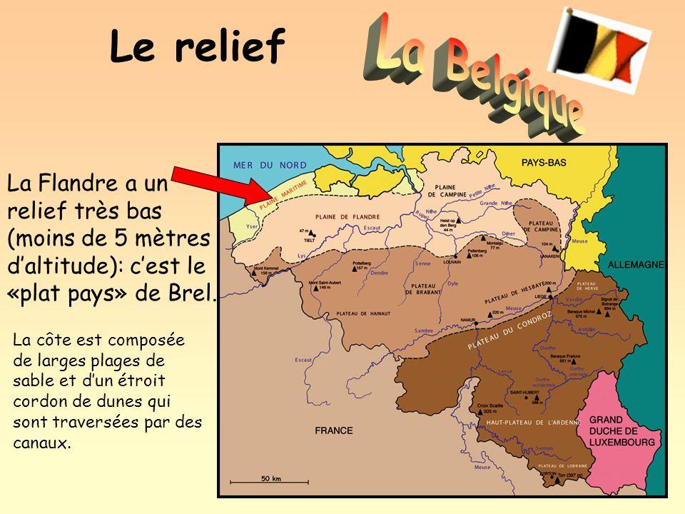 Le relief La Flandre a un relief très bas (moins de 5 mètres daltitude): cest le «plat pays» de Brel. La côte est composée de larges plages de sable e