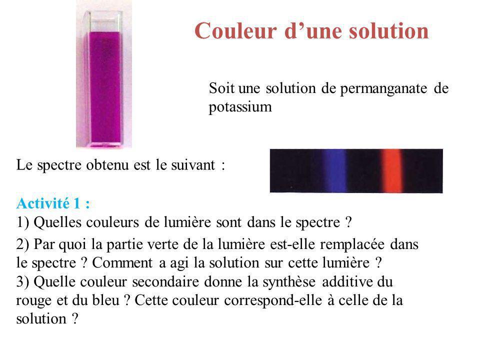 Couleur dune solution Le spectre obtenu est le suivant : Activité 1 : 1) Quelles couleurs de lumière sont dans le spectre ? 2) Par quoi la partie vert