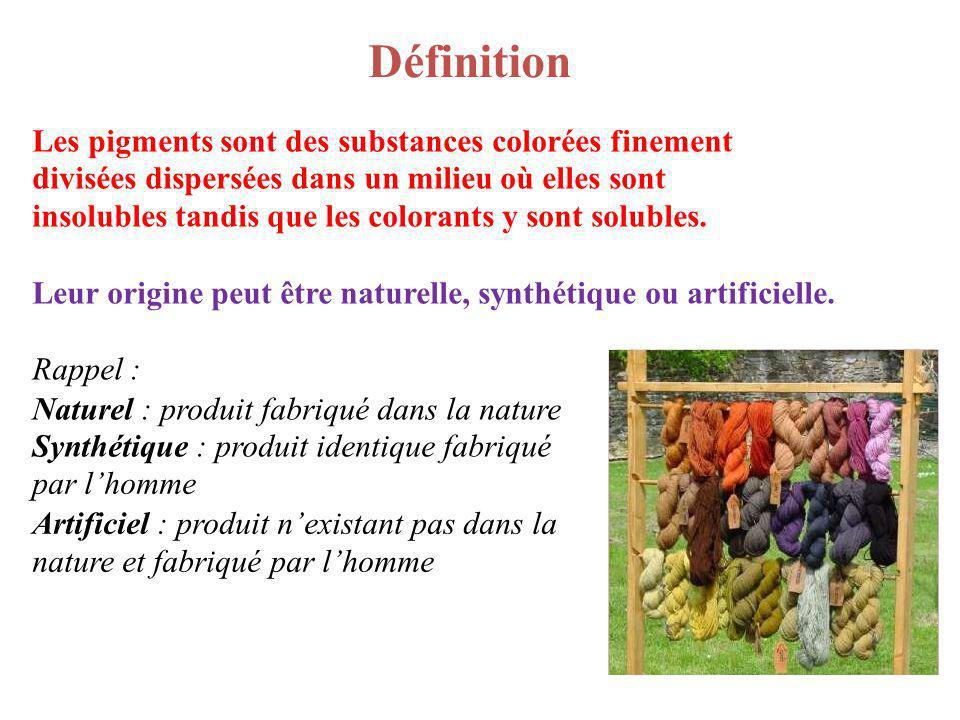 Définition Les pigments sont des substances colorées finement divisées dispersées dans un milieu où elles sont insolubles tandis que les colorants y s