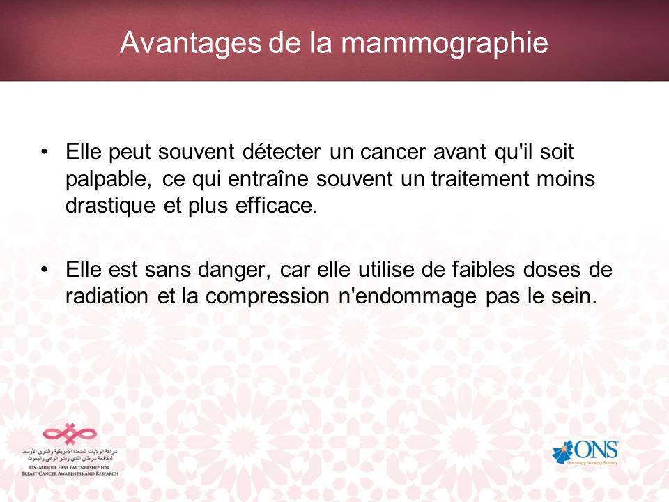 Avantages de la mammographie Elle peut souvent détecter un cancer avant qu'il soit palpable, ce qui entraîne souvent un traitement moins drastique et