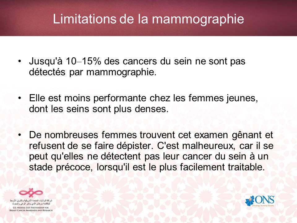 Limitations de la mammographie Jusqu'à 10 – 15% des cancers du sein ne sont pas détectés par mammographie. Elle est moins performante chez les femmes
