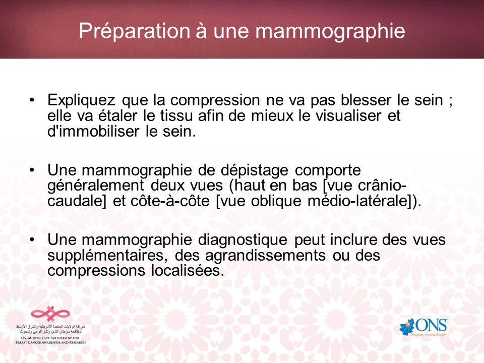 Préparation à une mammographie Expliquez que la compression ne va pas blesser le sein ; elle va étaler le tissu afin de mieux le visualiser et d'immob