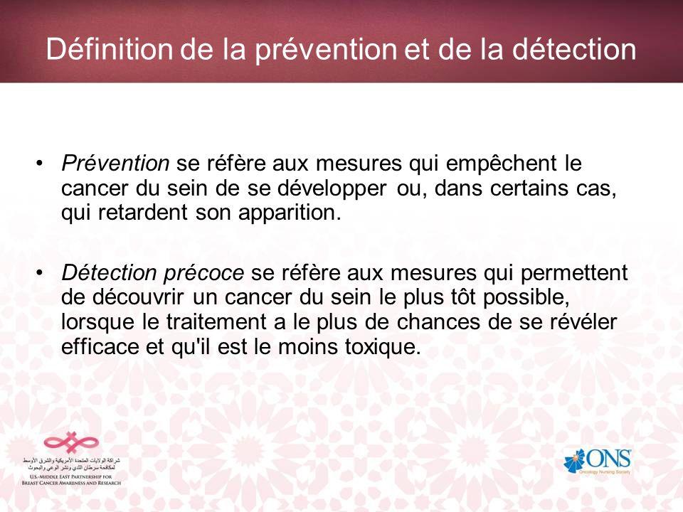 Définition de la prévention et de la détection Prévention se réfère aux mesures qui empêchent le cancer du sein de se développer ou, dans certains cas
