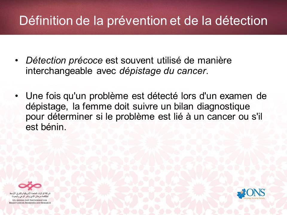 Définition de la prévention et de la détection Détection précoce est souvent utilisé de manière interchangeable avec dépistage du cancer. Une fois qu'