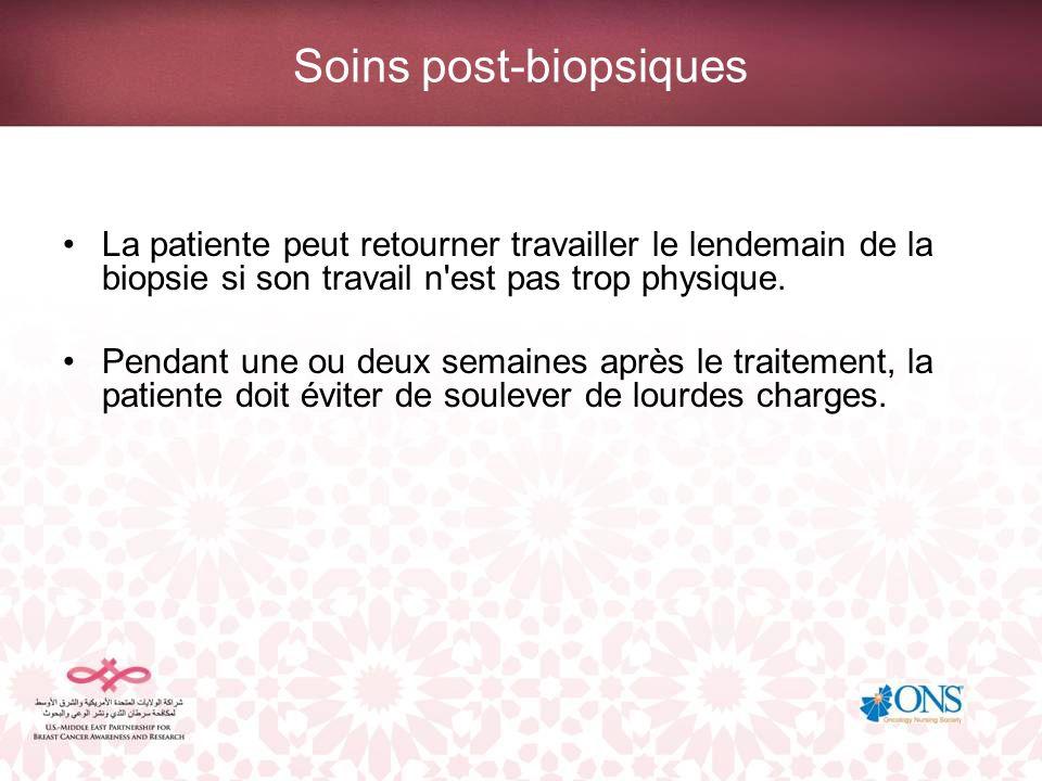 Soins post-biopsiques La patiente peut retourner travailler le lendemain de la biopsie si son travail n'est pas trop physique. Pendant une ou deux sem