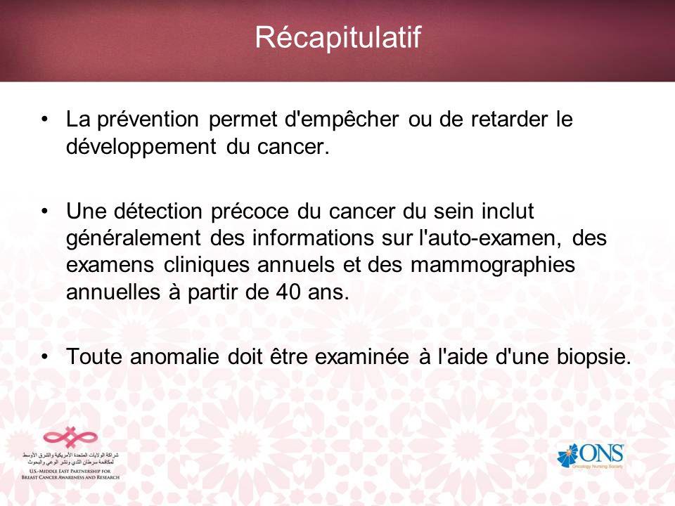 Récapitulatif La prévention permet d'empêcher ou de retarder le développement du cancer. Une détection précoce du cancer du sein inclut généralement d