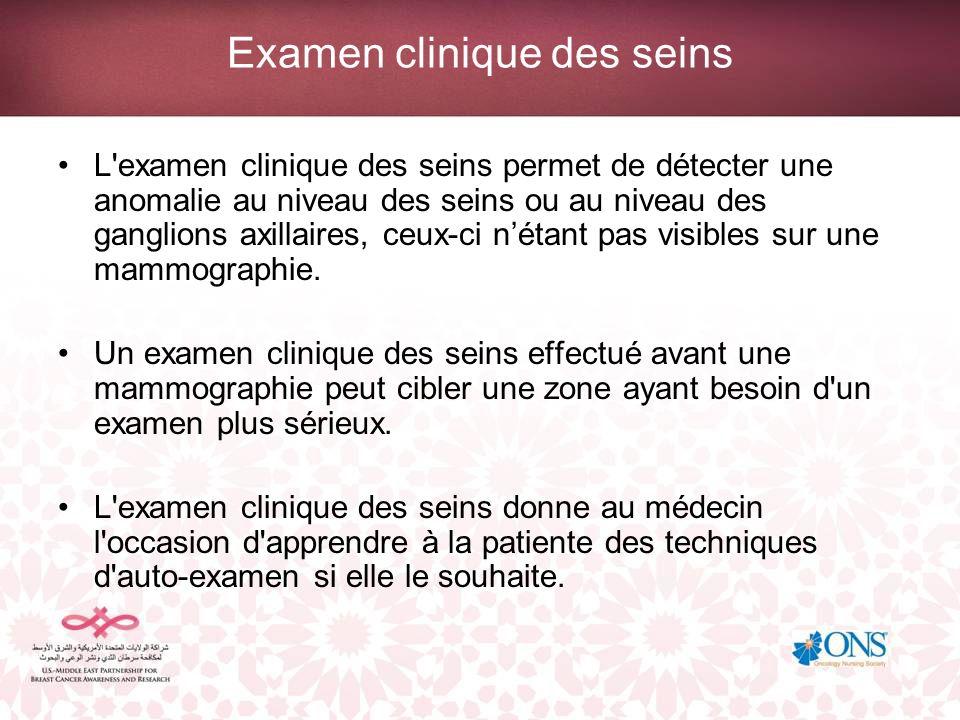 Examen clinique des seins L'examen clinique des seins permet de détecter une anomalie au niveau des seins ou au niveau des ganglions axillaires, ceux-