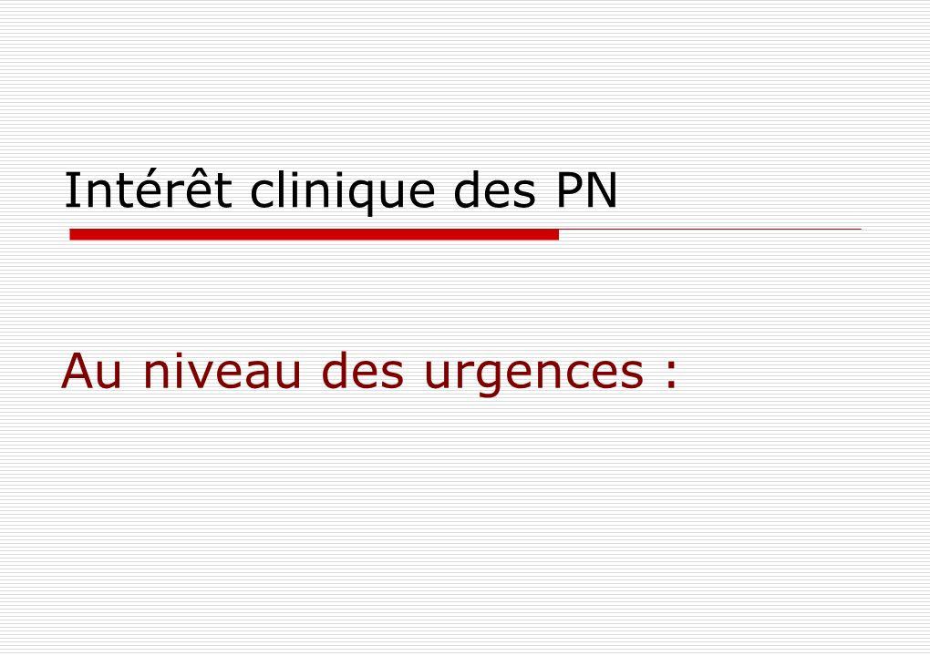 Intérêt clinique des PN Au niveau des urgences :