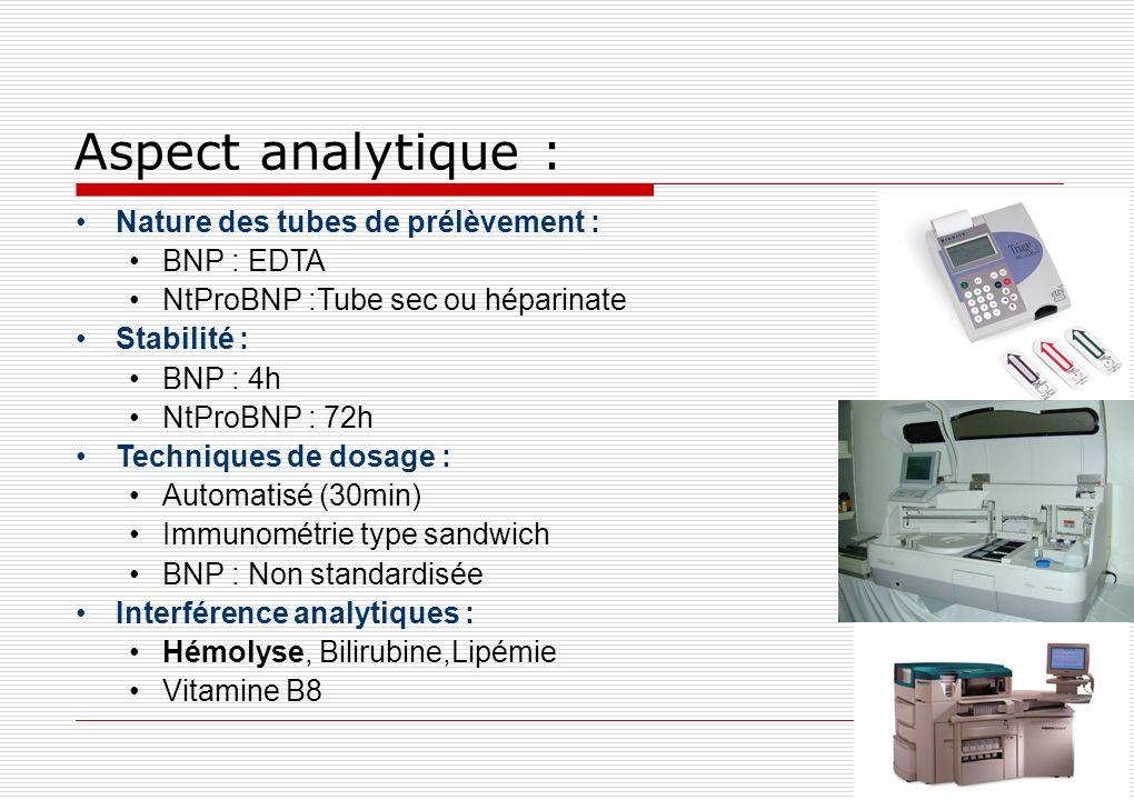 Aspect analytique : Nature des tubes de prélèvement : BNP : EDTA NtProBNP :Tube sec ou héparinate Stabilité : BNP : 4h NtProBNP : 72h Techniques de do