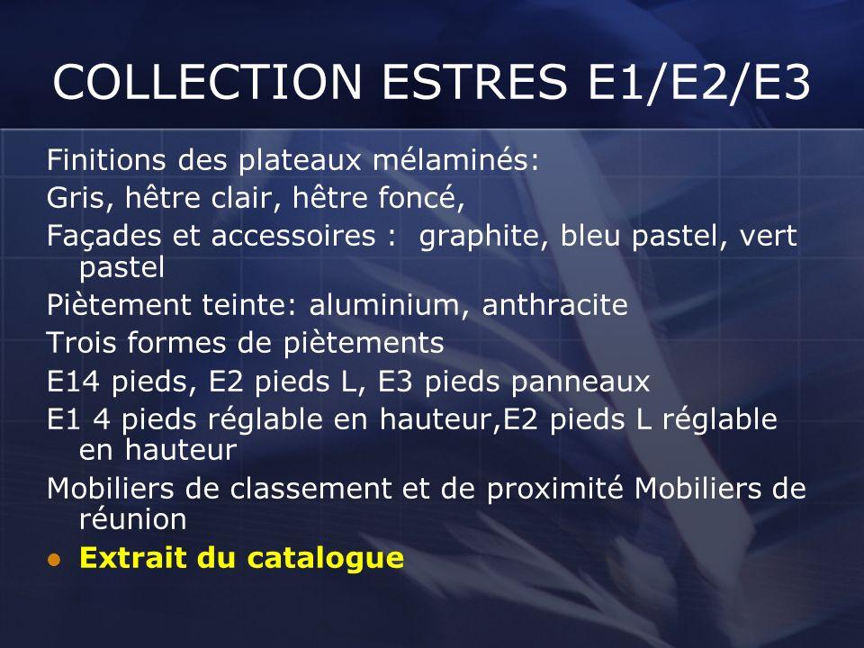 COLLECTION ESTRES E1/E2/E3 Finitions des plateaux mélaminés: Gris, hêtre clair, hêtre foncé, Façades et accessoires : graphite, bleu pastel, vert past