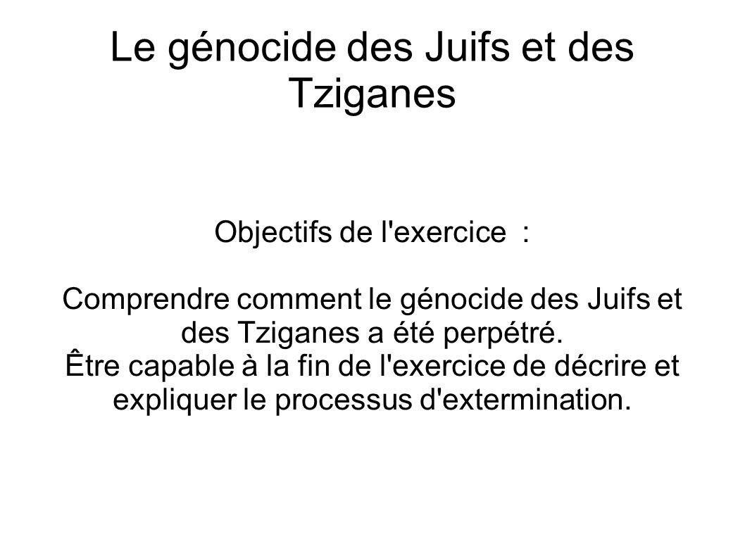 Le génocide des Juifs et des Tziganes Objectifs de l'exercice : Comprendre comment le génocide des Juifs et des Tziganes a été perpétré. Être capable