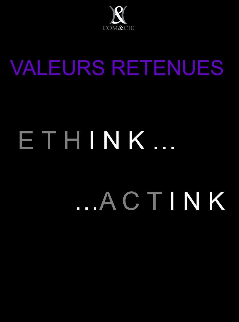 VALEURS RETENUES E T H I N K … …A C T I N K