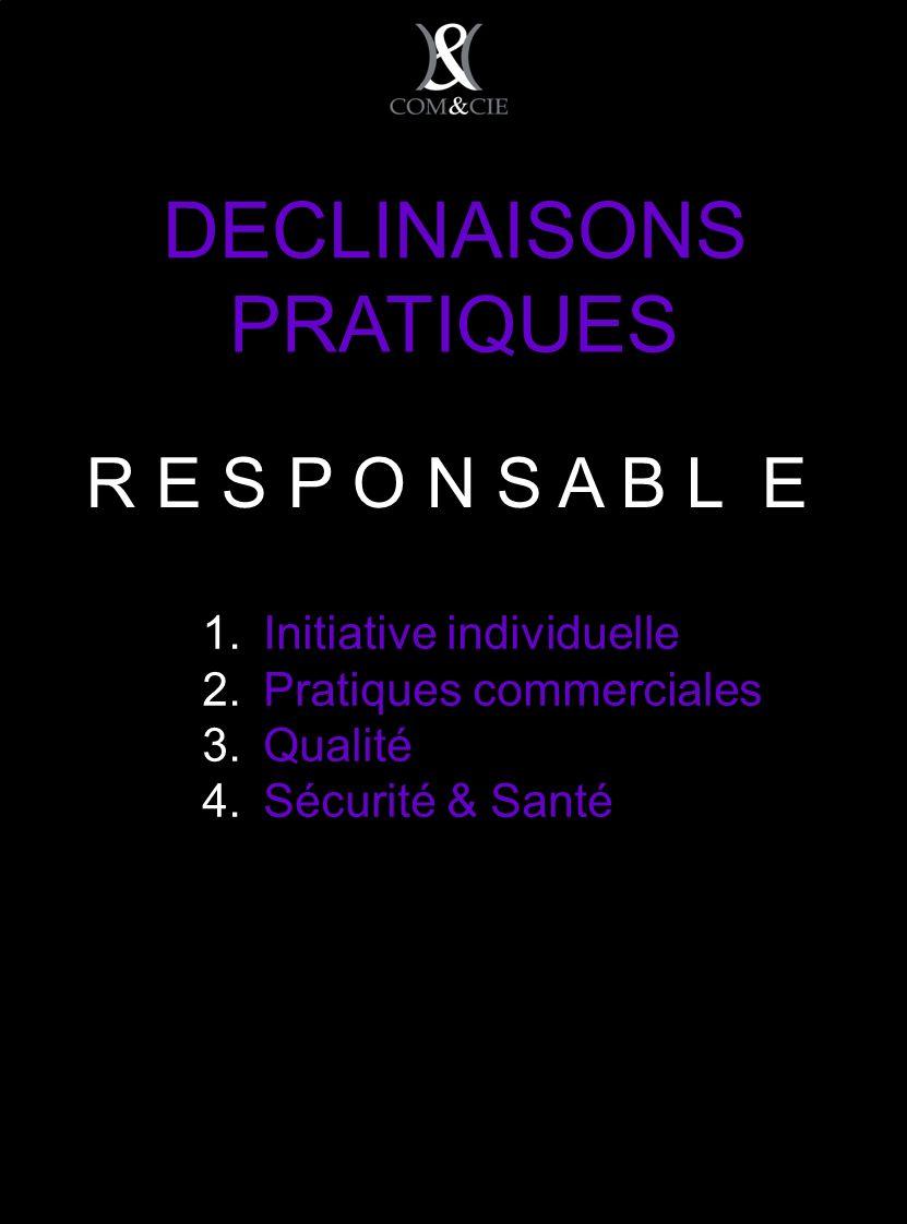 DECLINAISONS PRATIQUES Initiative individuelle Pratiques commerciales Qualité Sécurité & Santé R E S P O N S A B L E