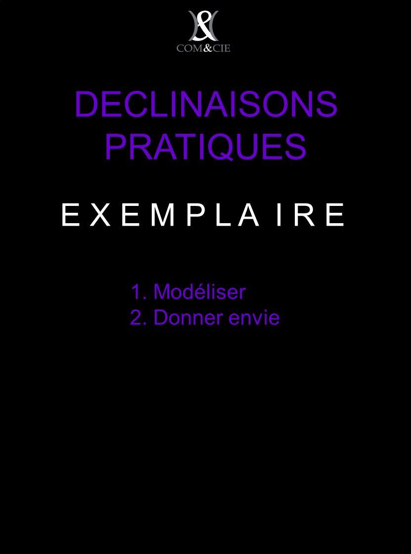 DECLINAISONS PRATIQUES 1. Modéliser 2. Donner envie E X E M P L A I R E