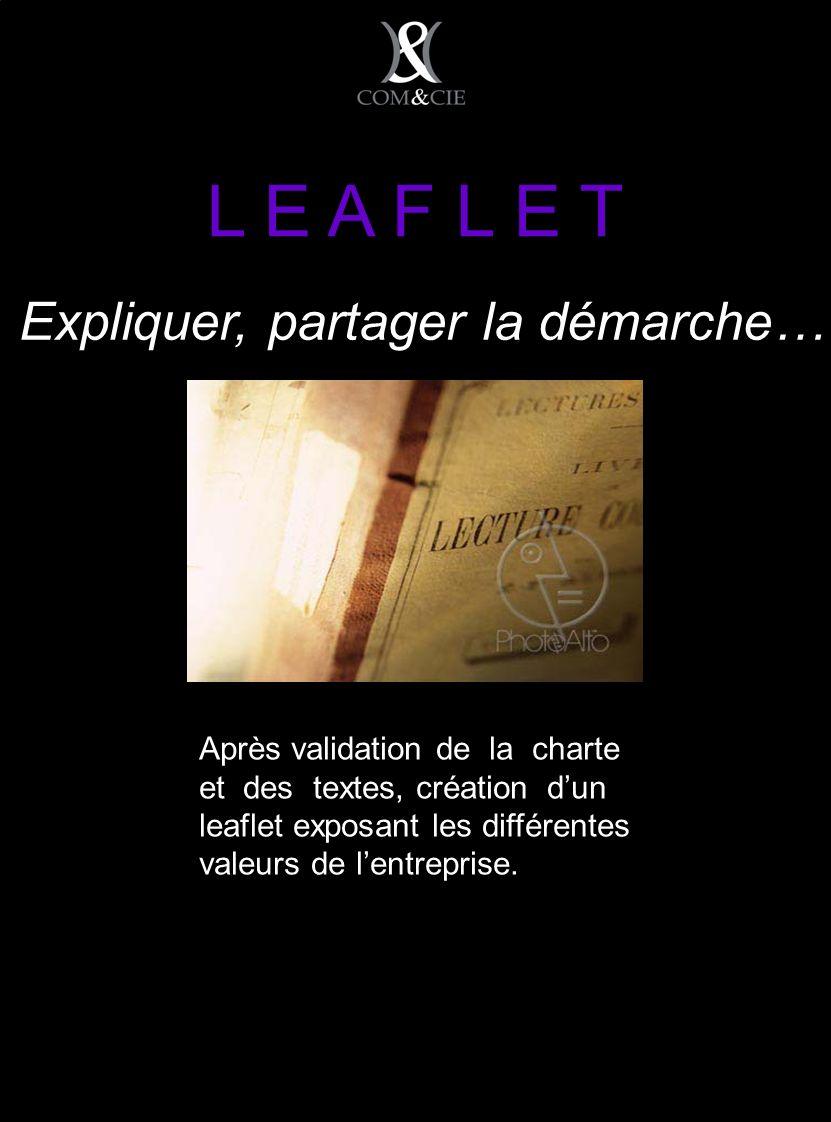 L E A F L E T Après validation de la charte et des textes, création dun leaflet exposant les différentes valeurs de lentreprise.