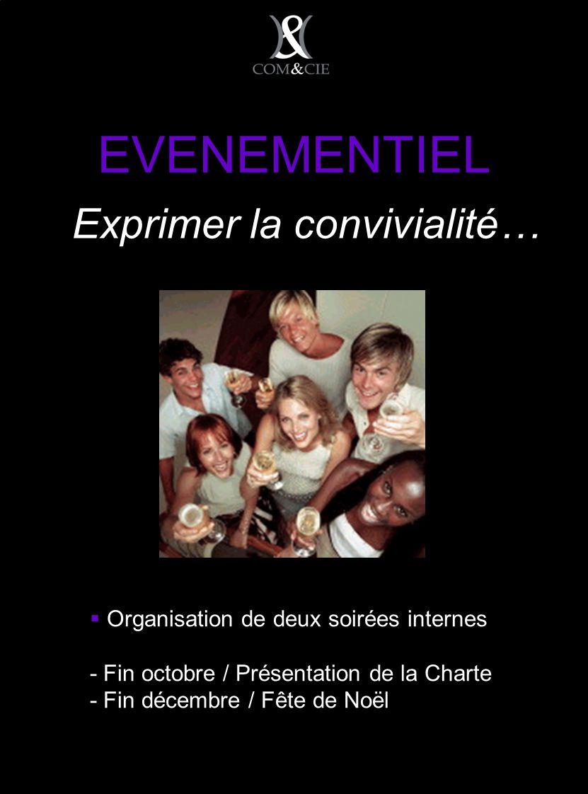 EVENEMENTIEL Organisation de deux soirées internes - Fin octobre / Présentation de la Charte - Fin décembre / Fête de Noël Exprimer la convivialité…