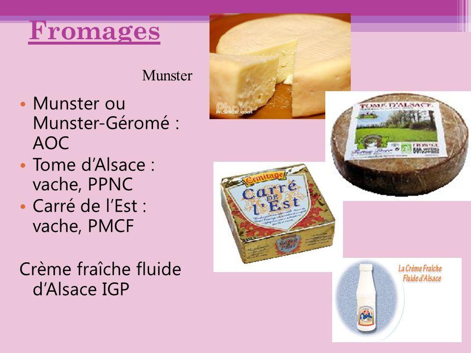 Fromages Munster ou Munster-Géromé : AOC Tome dAlsace : vache, PPNC Carré de lEst : vache, PMCF Crème fraîche fluide dAlsace IGP Munster