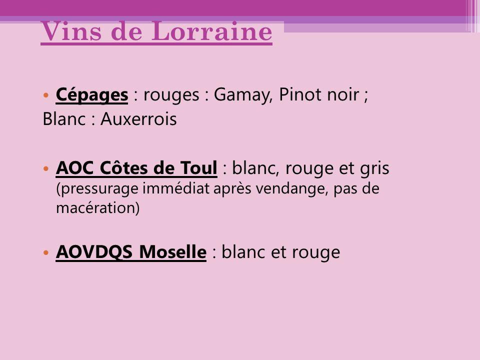 Vins de Lorraine Cépages : rouges : Gamay, Pinot noir ; Blanc : Auxerrois AOC Côtes de Toul : blanc, rouge et gris (pressurage immédiat après vendange