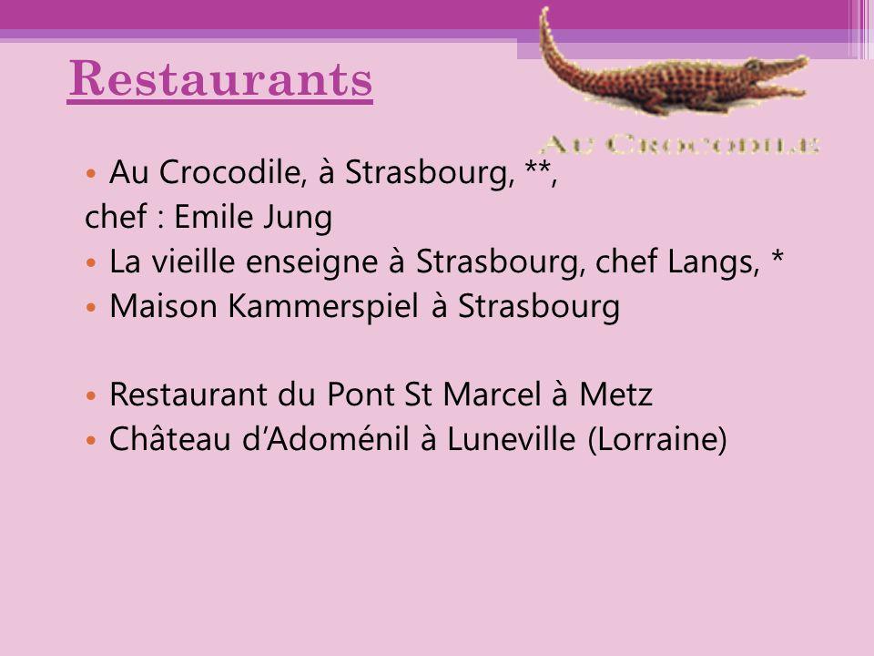 Restaurants Au Crocodile, à Strasbourg, **, chef : Emile Jung La vieille enseigne à Strasbourg, chef Langs, * Maison Kammerspiel à Strasbourg Restaura