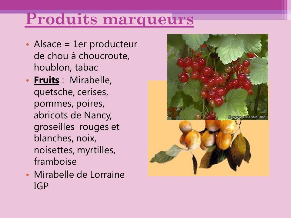 Produits marqueurs Alsace = 1er producteur de chou à choucroute, houblon, tabac Fruits : Mirabelle, quetsche, cerises, pommes, poires, abricots de Nan