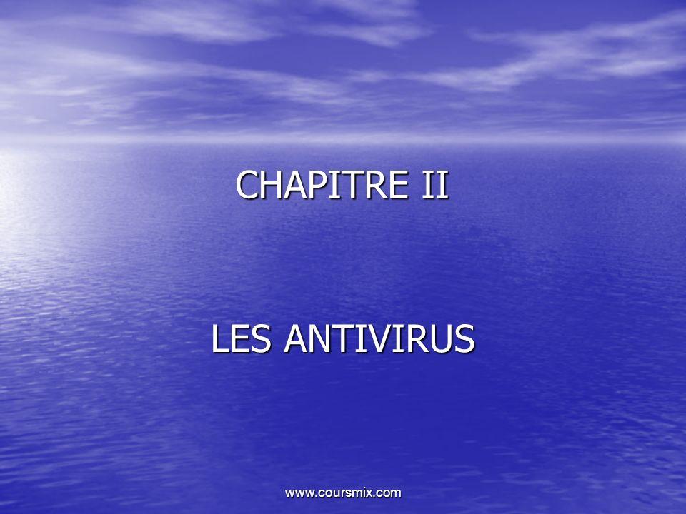 www.coursmix.com CHAPITRE II LES ANTIVIRUS