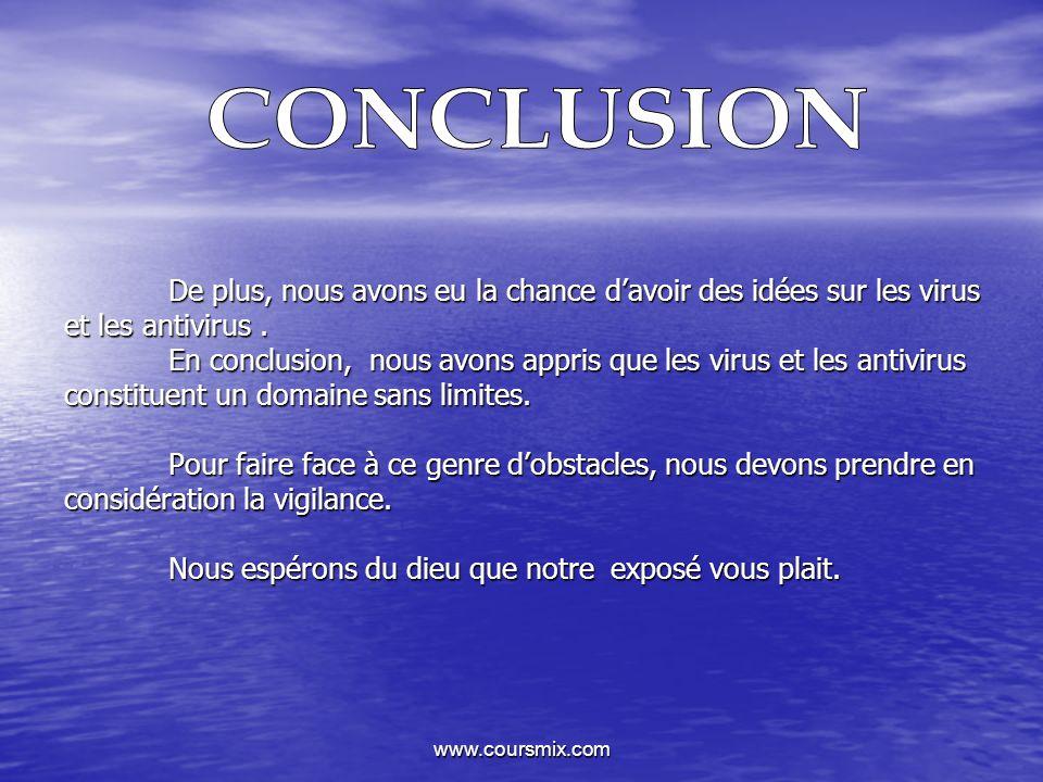 www.coursmix.com De plus, nous avons eu la chance davoir des idées sur les virus et les antivirus. En conclusion, nous avons appris que les virus et l