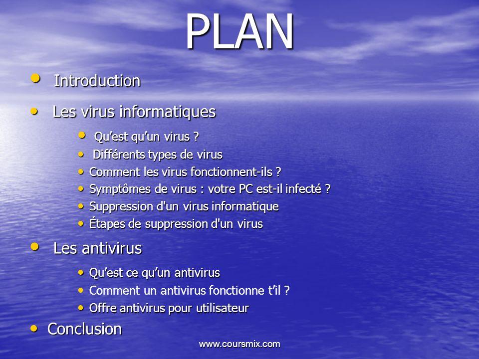 www.coursmix.com PLAN Introduction Introduction Les virus informatiques Les virus informatiques Quest quun virus ? Quest quun virus ? Différents types