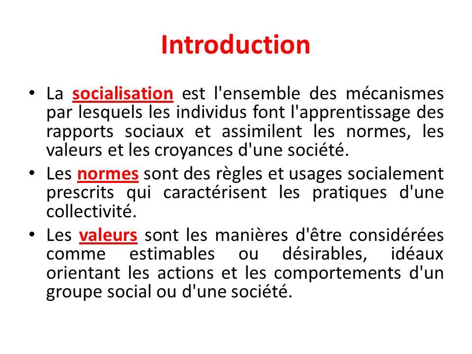 Introduction La socialisation est l'ensemble des mécanismes par lesquels les individus font l'apprentissage des rapports sociaux et assimilent les nor
