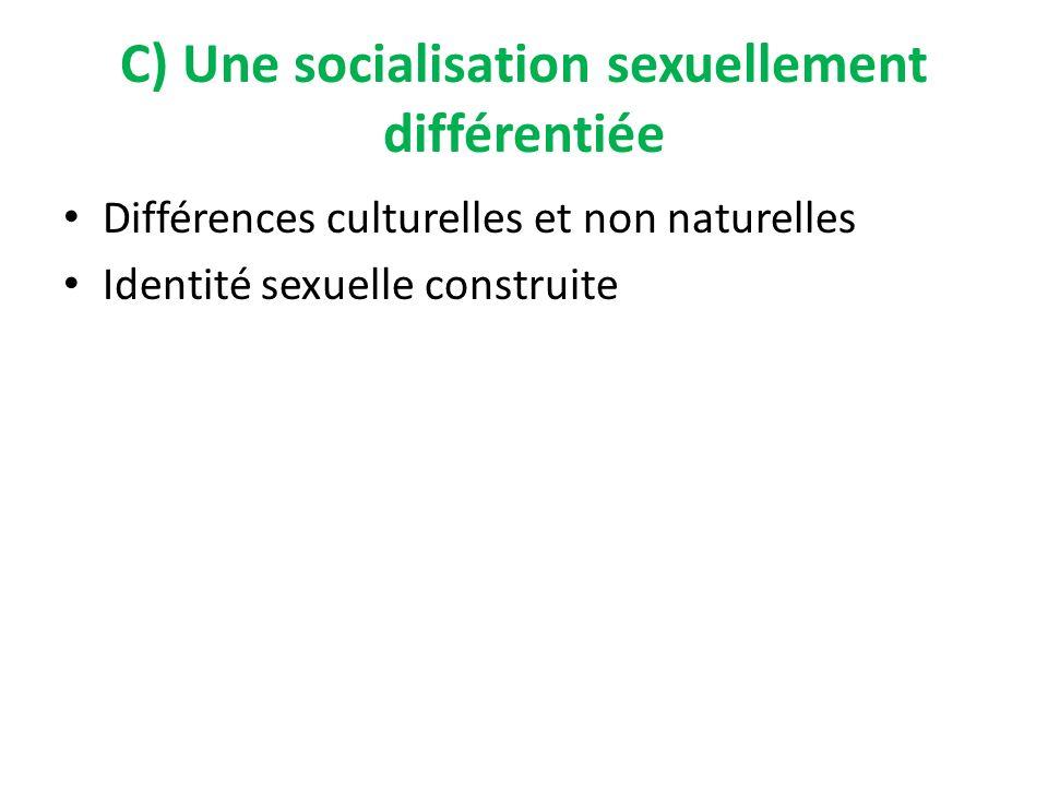 C) Une socialisation sexuellement différentiée Différences culturelles et non naturelles Identité sexuelle construite