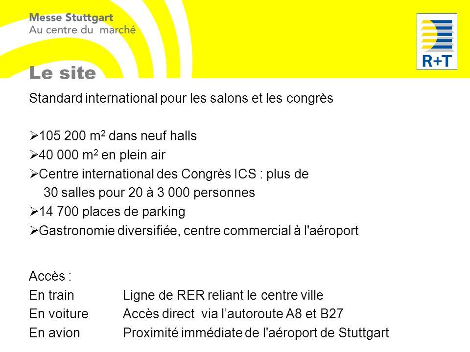Le site Standard international pour les salons et les congrès 105 200 m 2 dans neuf halls 40 000 m 2 en plein air Centre international des Congrès ICS