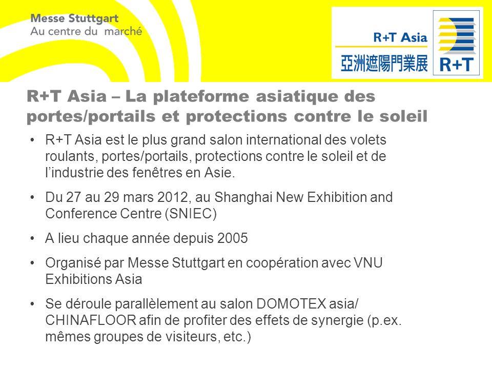 R+T Asia – La plateforme asiatique des portes/portails et protections contre le soleil R+T Asia est le plus grand salon international des volets roula