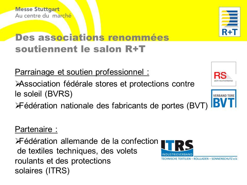 Des associations renommées soutiennent le salon R+T Parrainage et soutien professionnel : Association fédérale stores et protections contre le soleil