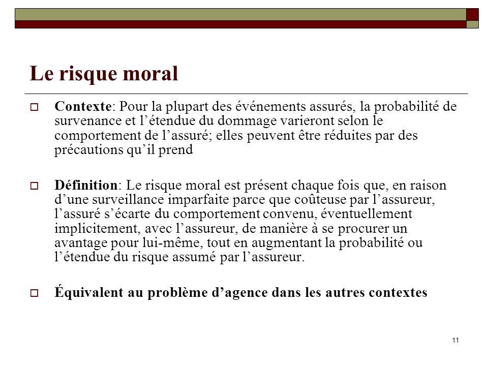 11 Le risque moral Contexte: Pour la plupart des événements assurés, la probabilité de survenance et létendue du dommage varieront selon le comporteme