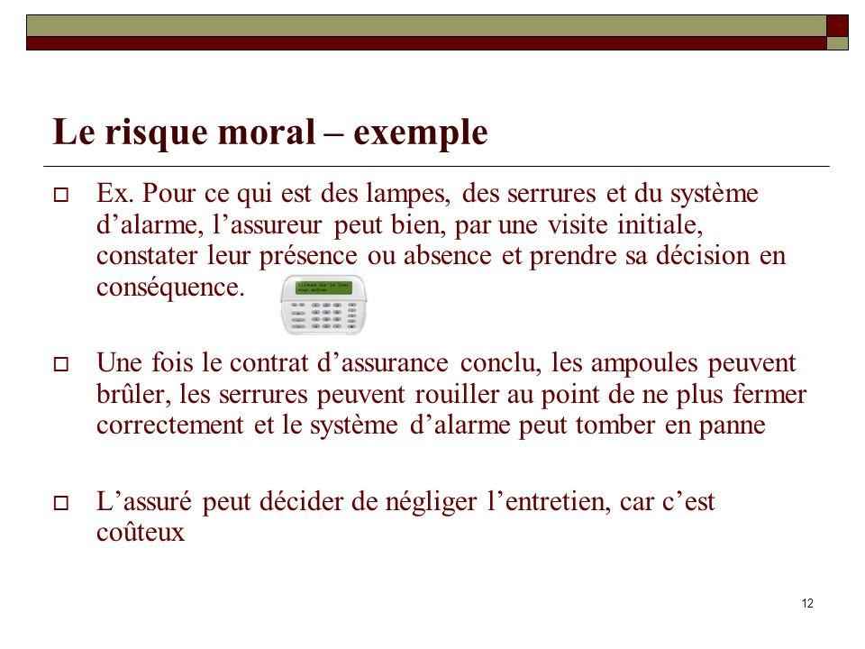 12 Le risque moral – exemple Ex. Pour ce qui est des lampes, des serrures et du système dalarme, lassureur peut bien, par une visite initiale, constat