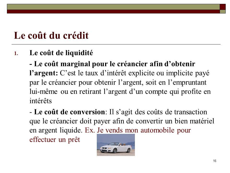 16 Le coût du crédit 1. Le coût de liquidité - Le coût marginal pour le créancier afin dobtenir largent: Cest le taux dintérêt explicite ou implicite