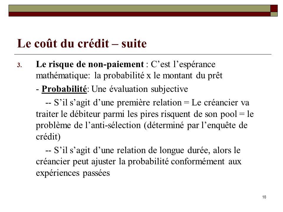 18 Le coût du crédit – suite 3. Le risque de non-paiement : Cest lespérance mathématique: la probabilité x le montant du prêt - Probabilité: Une évalu