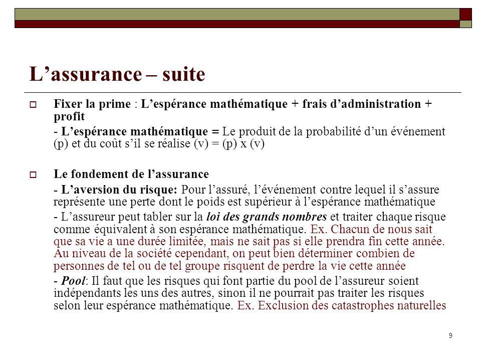 9 Lassurance – suite Fixer la prime : Lespérance mathématique + frais dadministration + profit - Lespérance mathématique = Le produit de la probabilit