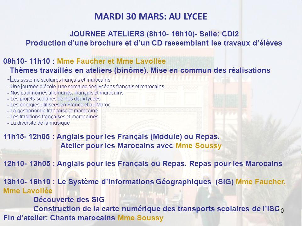 10 MARDI 30 MARS: AU LYCEE JOURNEE ATELIERS (8h10- 16h10)- Salle: CDI2 Production dune brochure et dun CD rassemblant les travaux délèves 08h10- 11h10