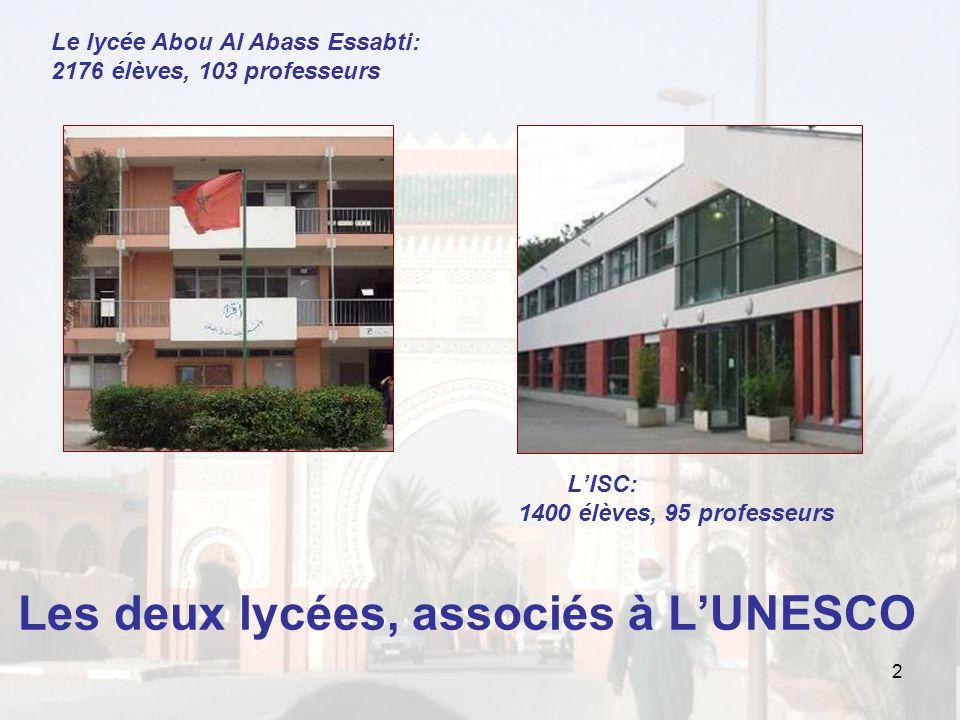 LISC: 1400 élèves, 95 professeurs Les deux lycées, associés à LUNESCO 2 Le lycée Abou Al Abass Essabti: 2176 élèves, 103 professeurs